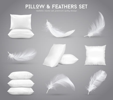 Fluffy feathers and white pillows Illustration