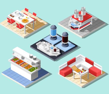 Fast food self service restaurant isometric interior composition
