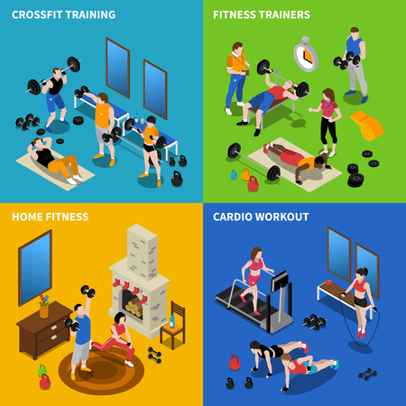 Gym and fitness concept icons