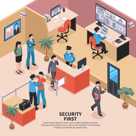 Isometric security system control composition Illustration