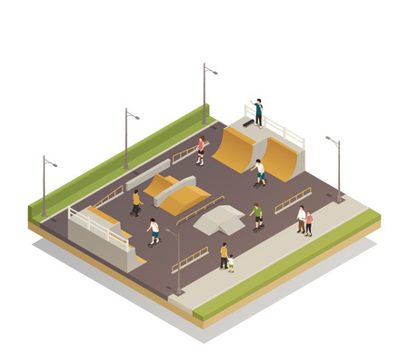 Eco riding sports ground isometric composition Illustration