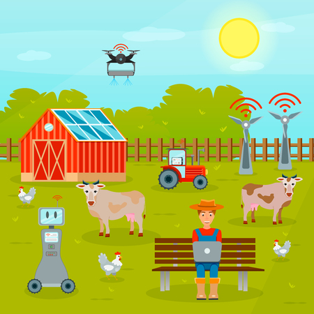 Modern technologies of smart farming flat composition