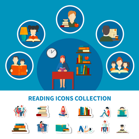 Collection of icons with adults and kids during reading