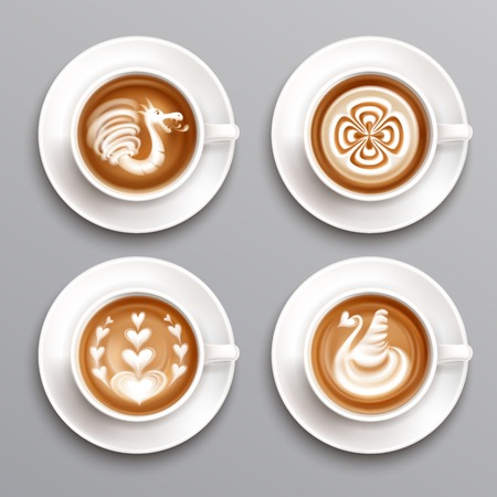 Latte coffee realistic set Çizim