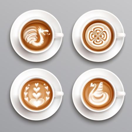Latte coffee realistic set Illustration
