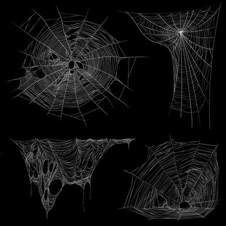Spinnennetz-Bildersammlung auf schwarzem Hintergrund