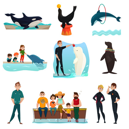 Water park icons set