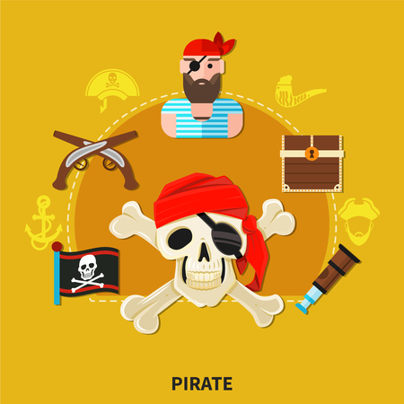 Pirate cartoon composition