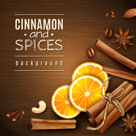 Cinnamon sticks, orange slices, coffee grains and spices on wooden texture background vector illustration Ilustração