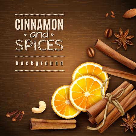 Cinnamon sticks, orange slices, coffee grains and spices on wooden texture background vector illustration Illustration