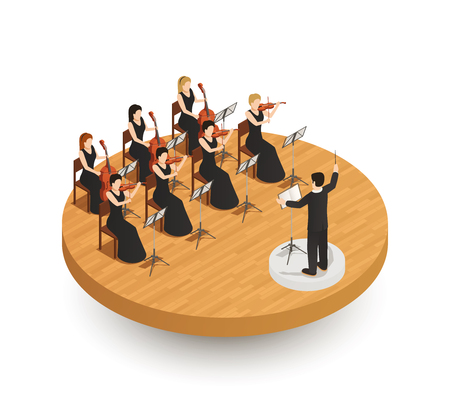 Orchestra isometric composition Stock Illustratie
