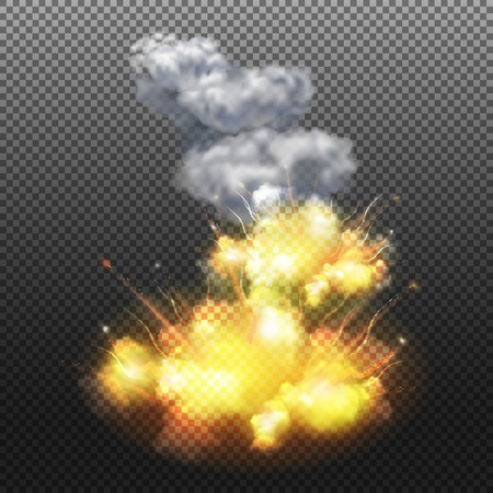 Flaming explosion composition on transparent background Illustration