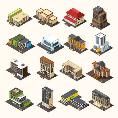Government building isometric set Иллюстрация