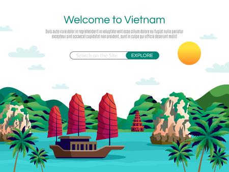 Bienvenido a la ilustración de vector de dibujos animados de Vietnam Ilustración de vector