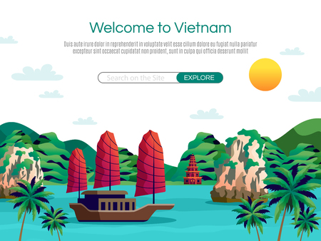 Welcome to Vietnam cartoon vector illustration Иллюстрация