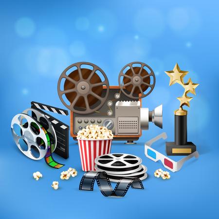 Realistic blue cinema icons