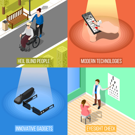 Isometric blind people design concept