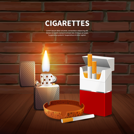 Tobacco realistic poster with pack of cigarettes ashtray and lighter on dark background 向量圖像