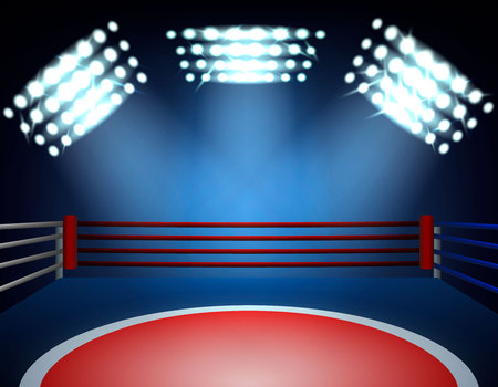 Boxing ring spotlights realistic composition