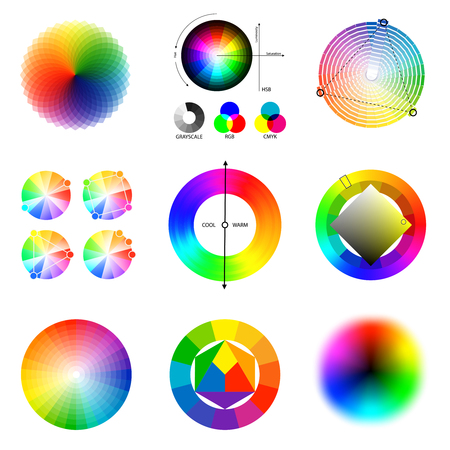 Perfect matching principles circle schemes palette set 矢量图像