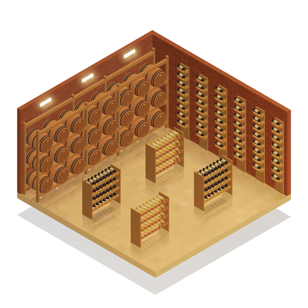 Wine cellar interior isometric composition