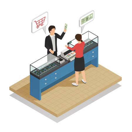 Payments methods isometric composition