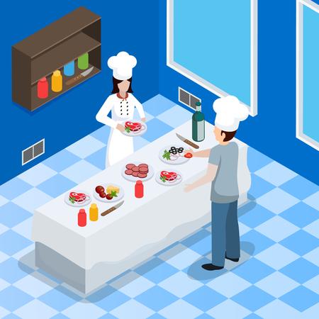 Restaurant kitchen facility interior isometric composition Illustration