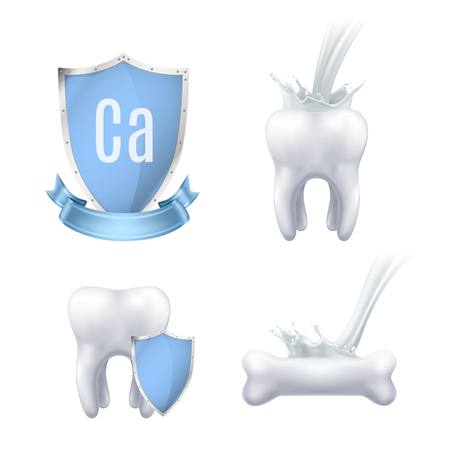 Calcium protection realistic icons collection