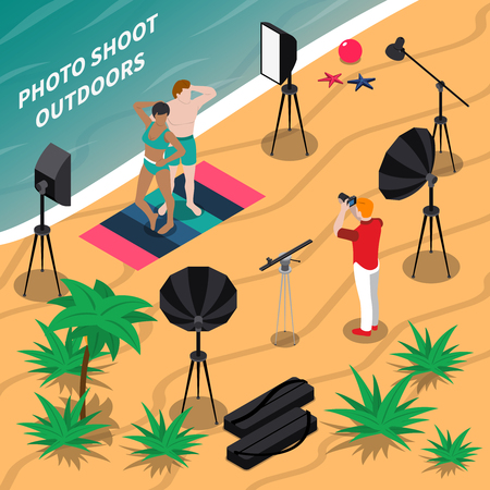 Photo shooting outdoors isometric composition Illustration