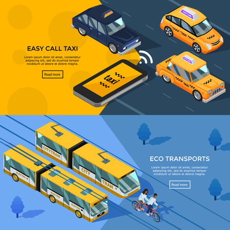 City transport horizontal banners set 일러스트