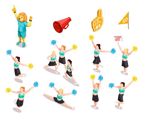 Cheerleading competition sport stunt collection  イラスト・ベクター素材