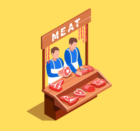 Selling meat illustration