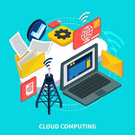 Cloud computing isometric design concept