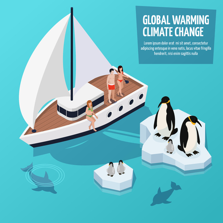 Climate change isometric composition with people on sailboat Banque d'images - 100611226