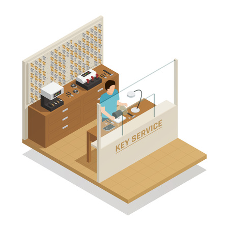 Key service isometric composition with master at working place