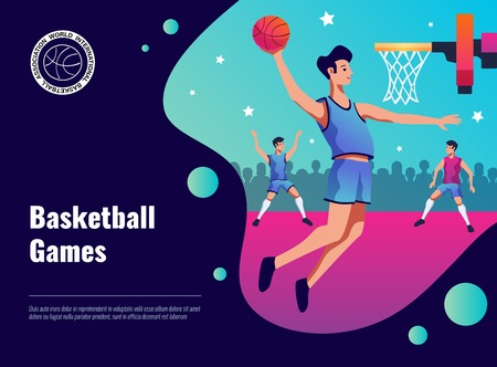 Illustration on sport theme with basketball games 矢量图像