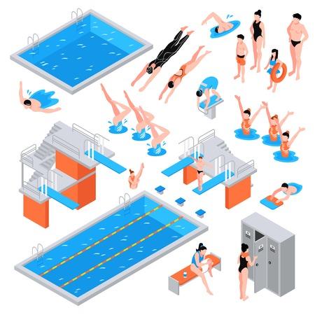 Isometric swimming pool set