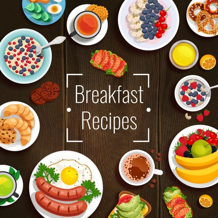 Breakfast recipes design concept