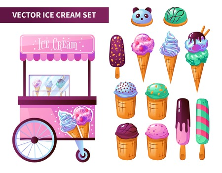 Ice cream cart products set Vectores