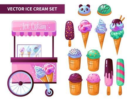 Ice cream cart products set Illustration