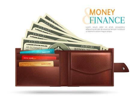 Wallet with money Stock Illustratie