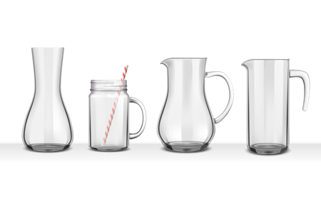 Four smooth glass realistic jugs Vectores