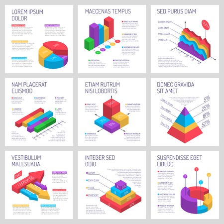 Isometric diagrams infographics banners 일러스트