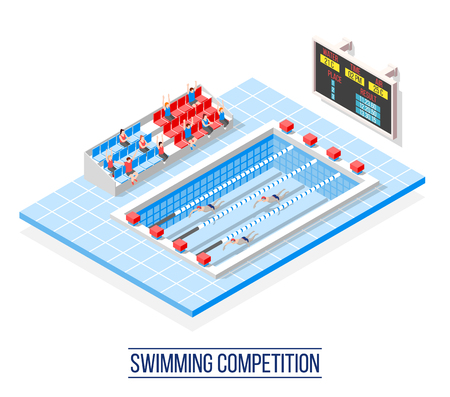 Swimming competition isometric composition with sportsmen on pool lanes, spectators on tribune, information board vector illustration