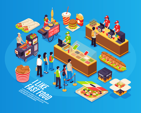 Fast food isometric design concept with  street sellers restaurant cashiers and eating icons on blue background vector illustration