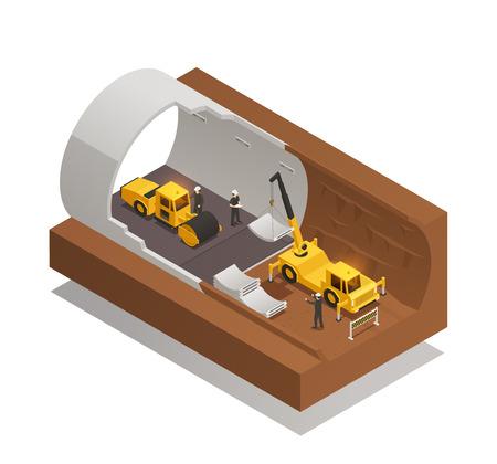 Composición isométrica con proceso de construcción de túneles subterráneos sobre fondo blanco ilustración vectorial 3d