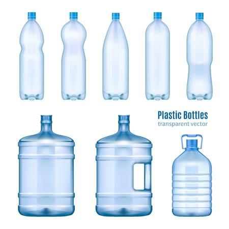 Botellas de agua de plástico conjunto realista de contenedores grandes para tara más fresca y pequeña para la venta al por menor ilustración vectorial aislada