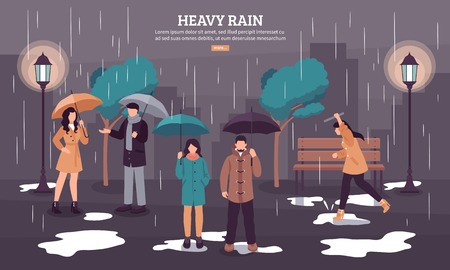 Weather forecast web page with heavy rain on dark cloudy day with people under umbrellas vector illustration