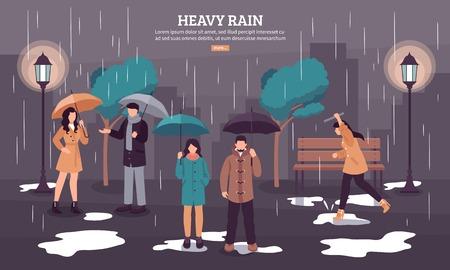 Page Web de prévisions météo avec de fortes pluies sur une journée nuageuse sombre avec des personnes sous des parapluies vector illustration Vecteurs