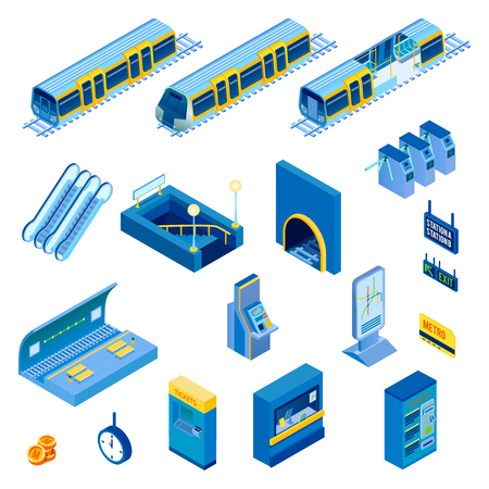 Isometric set of various metro station elements vector illustration